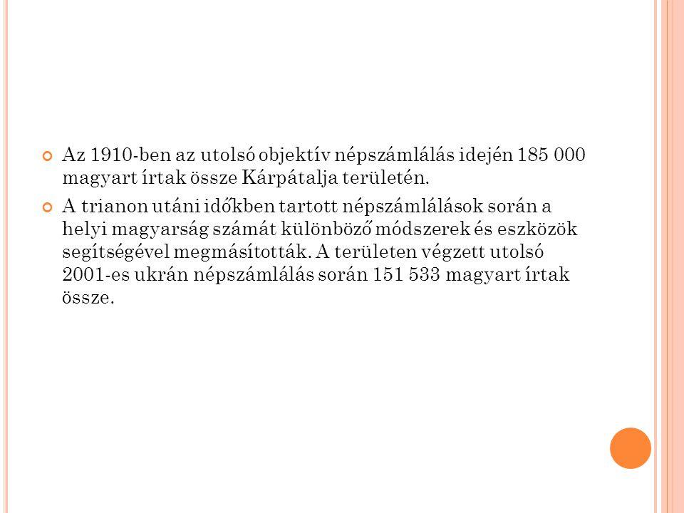 Az 1910-ben az utolsó objektív népszámlálás idején 185 000 magyart írtak össze Kárpátalja területén.