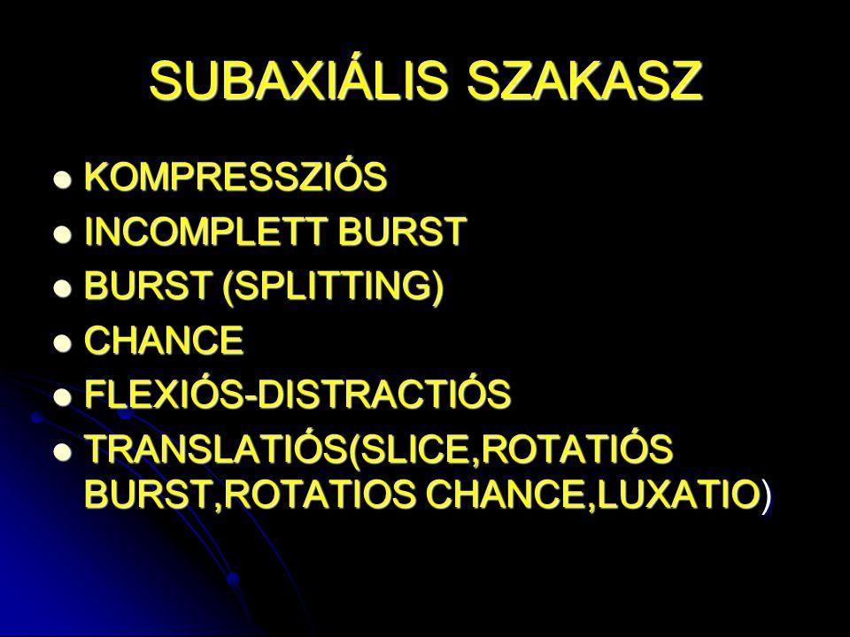 SUBAXIÁLIS SZAKASZ KOMPRESSZIÓS INCOMPLETT BURST BURST (SPLITTING)