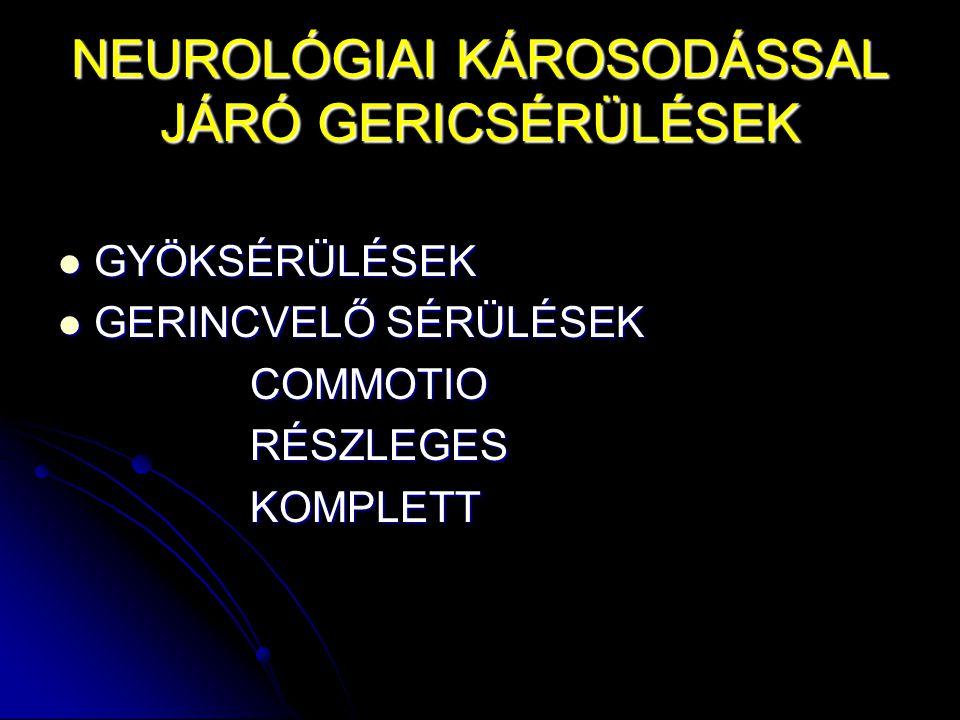 NEUROLÓGIAI KÁROSODÁSSAL JÁRÓ GERICSÉRÜLÉSEK