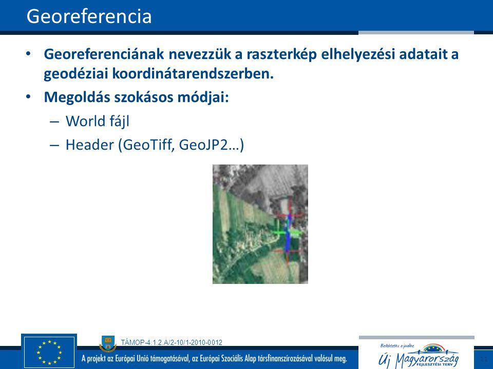 Georeferencia Georeferenciának nevezzük a raszterkép elhelyezési adatait a geodéziai koordinátarendszerben.