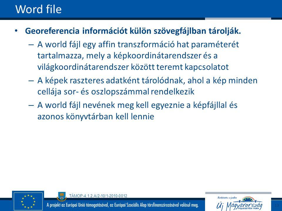 Word file Georeferencia információt külön szövegfájlban tárolják.