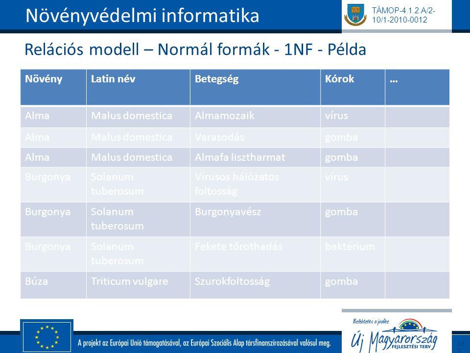 Relációs modell – Normál formák - 1NF - Példa