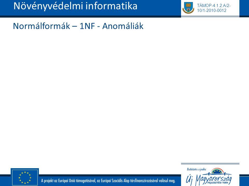 Normálformák – 1NF - Anomáliák
