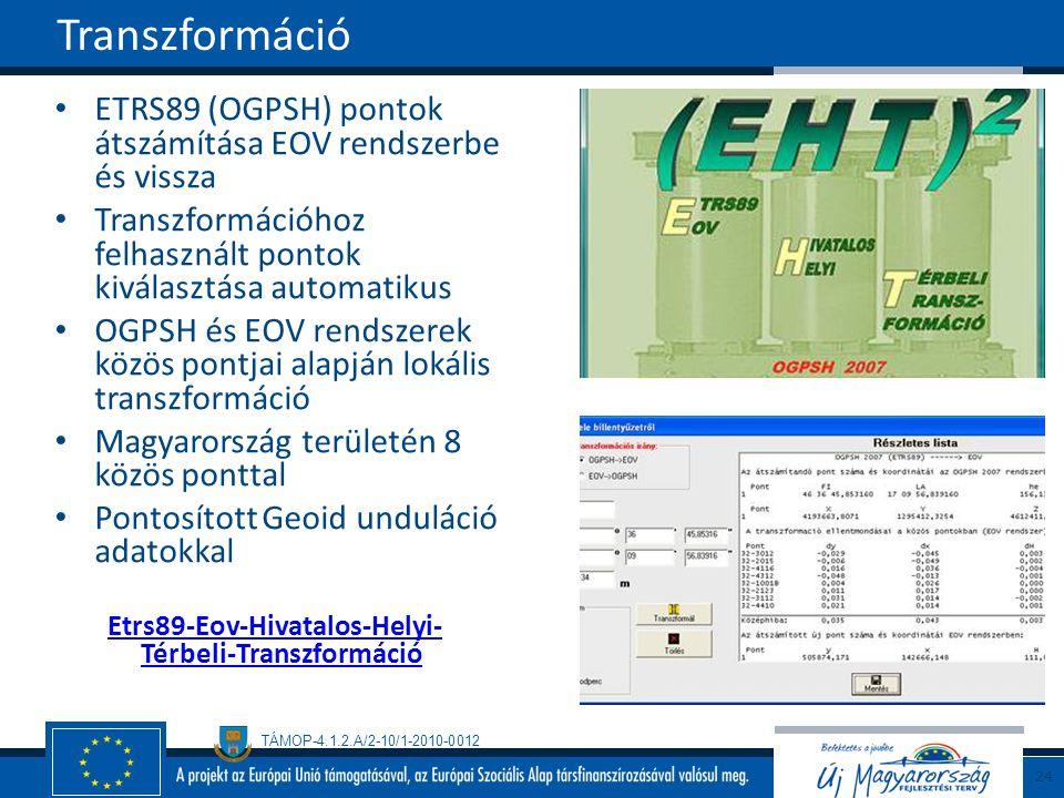 Transzformáció ETRS89 (OGPSH) pontok átszámítása EOV rendszerbe és vissza. Transzformációhoz felhasznált pontok kiválasztása automatikus.