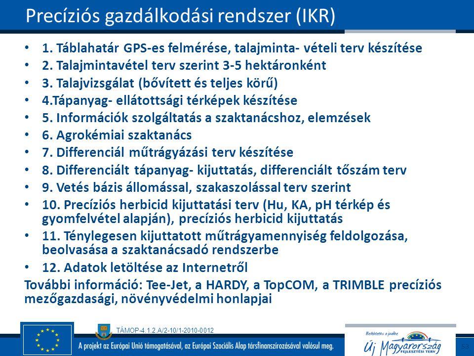 Precíziós gazdálkodási rendszer (IKR)
