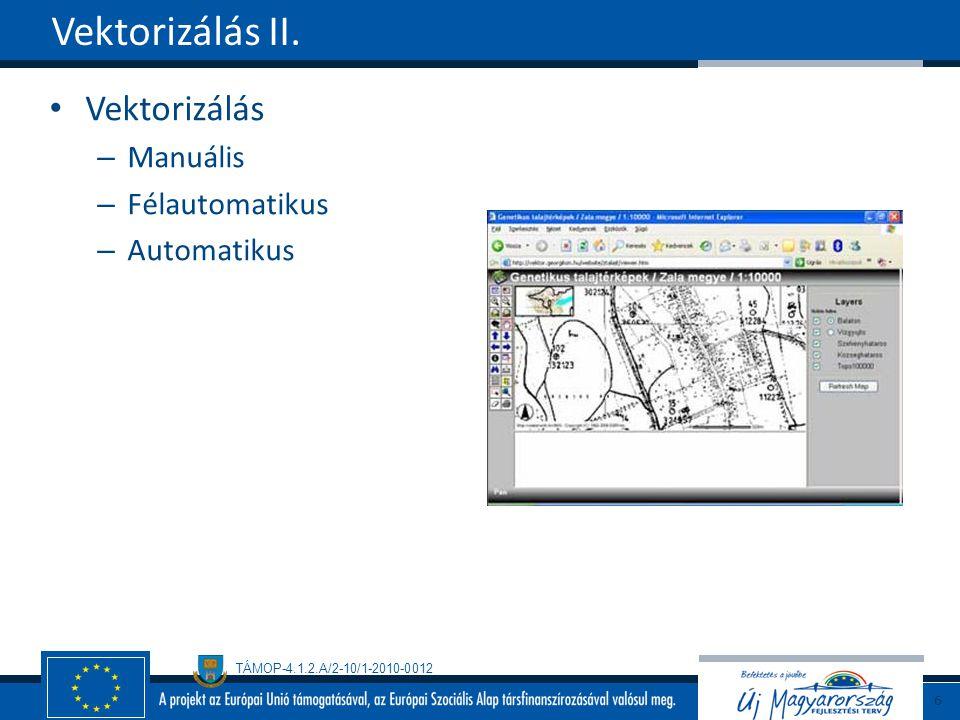 Vektorizálás II. Vektorizálás Manuális Félautomatikus Automatikus