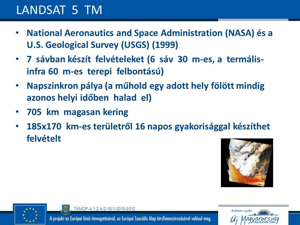 LANDSAT 5 TM National Aeronautics and Space Administration (NASA) és a U.S. Geological Survey (USGS) (1999)