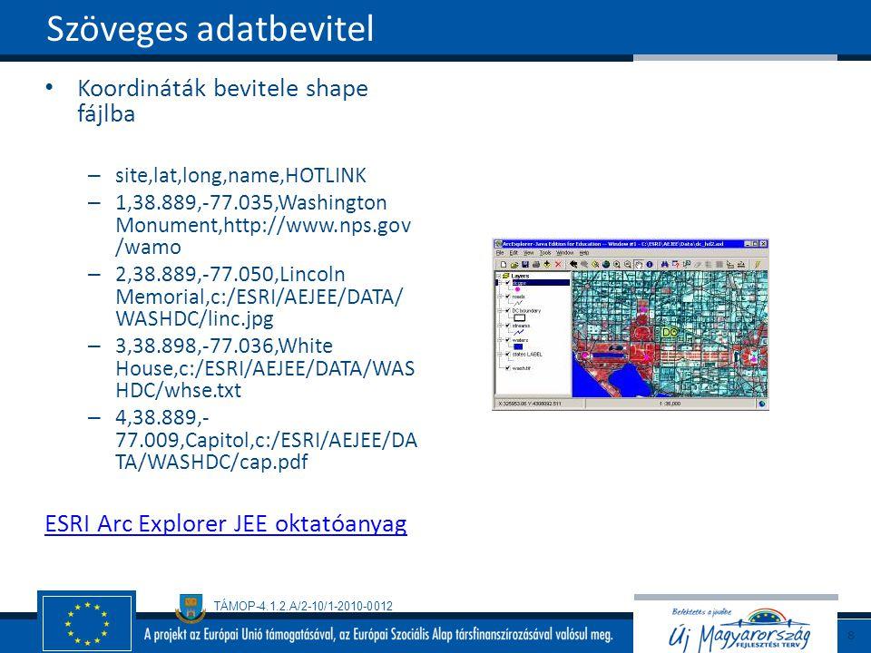 Szöveges adatbevitel Koordináták bevitele shape fájlba