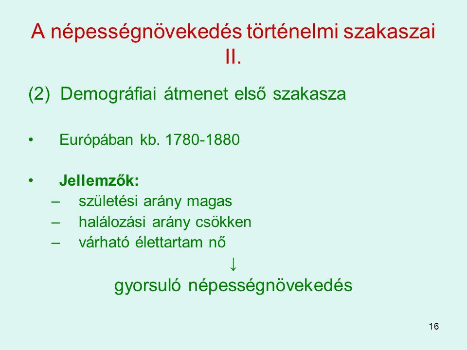 A népességnövekedés történelmi szakaszai II.