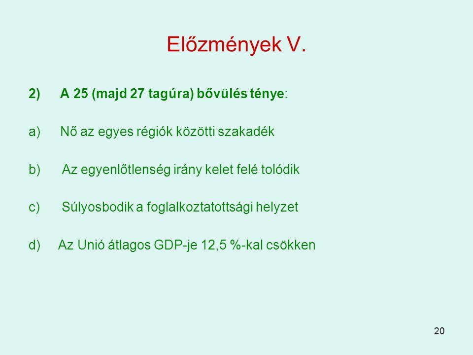 Előzmények V. A 25 (majd 27 tagúra) bővülés ténye: