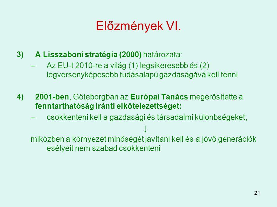 Előzmények VI. A Lisszaboni stratégia (2000) határozata:
