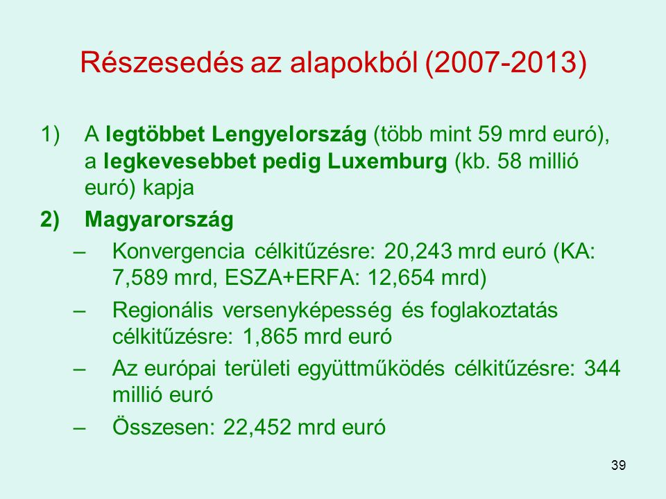 Részesedés az alapokból (2007-2013)