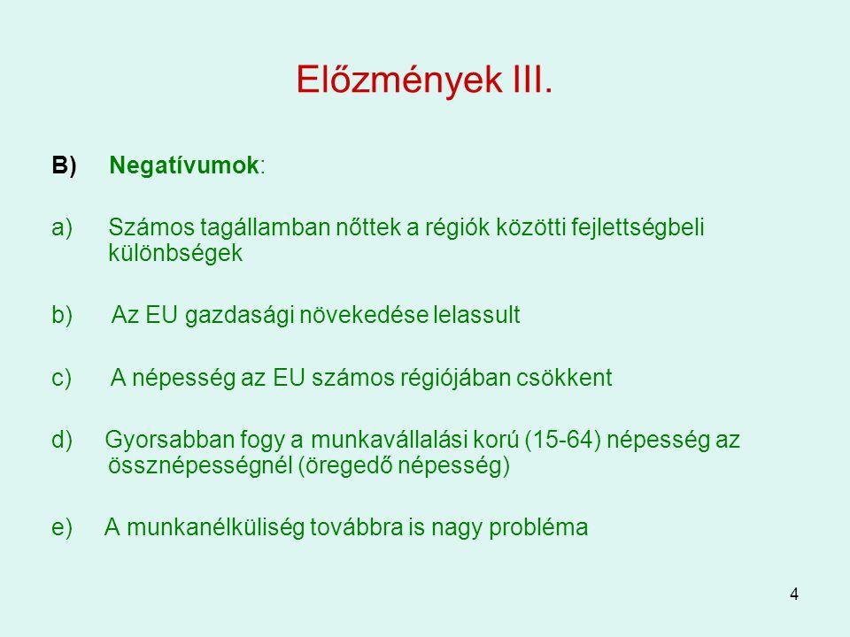 Előzmények III. B) Negatívumok: