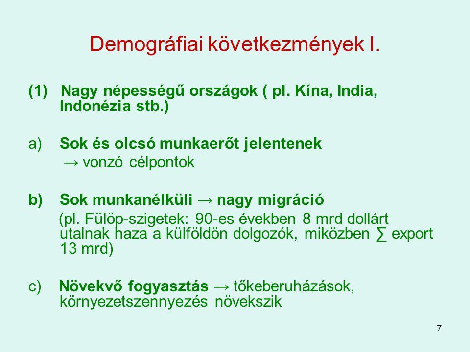 Demográfiai következmények I.