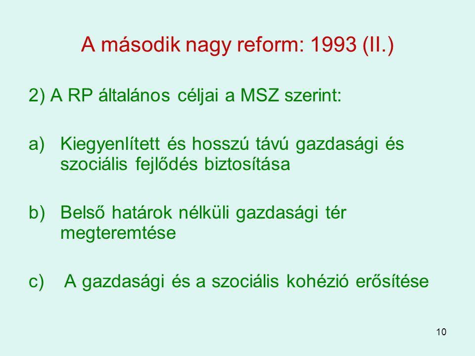 A második nagy reform: 1993 (II.)