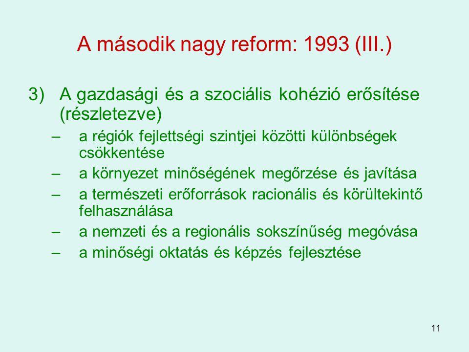 A második nagy reform: 1993 (III.)