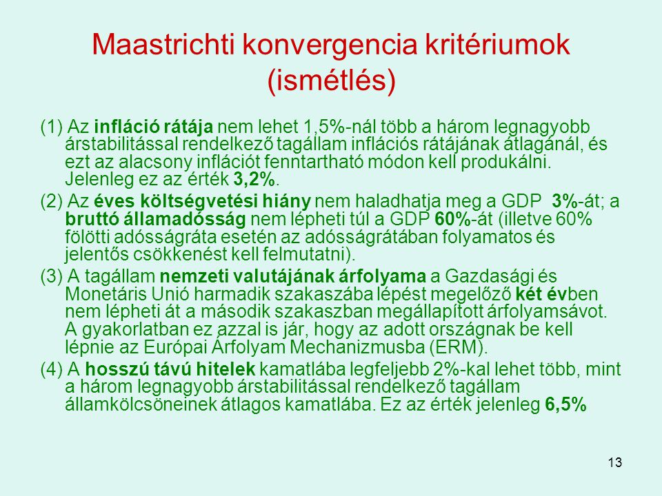 Maastrichti konvergencia kritériumok (ismétlés)