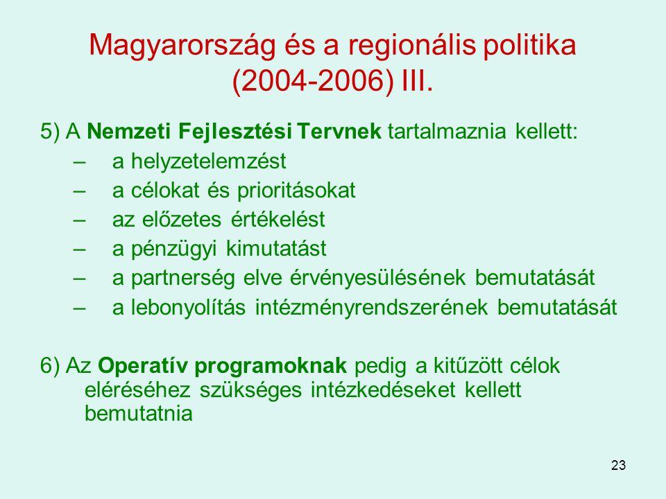 Magyarország és a regionális politika (2004-2006) III.