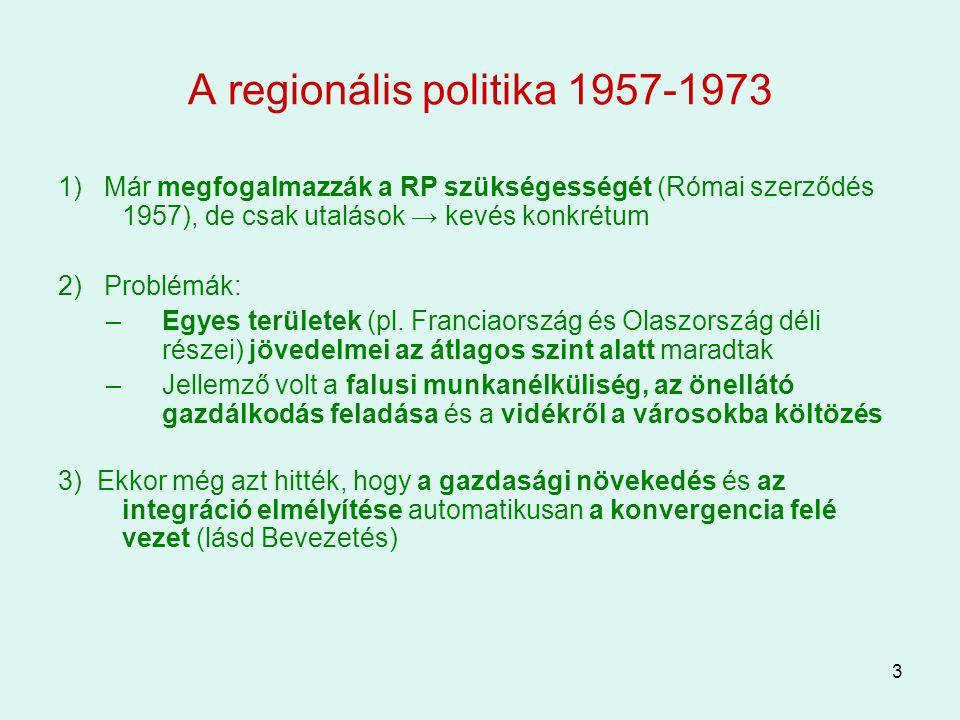 A regionális politika 1957-1973