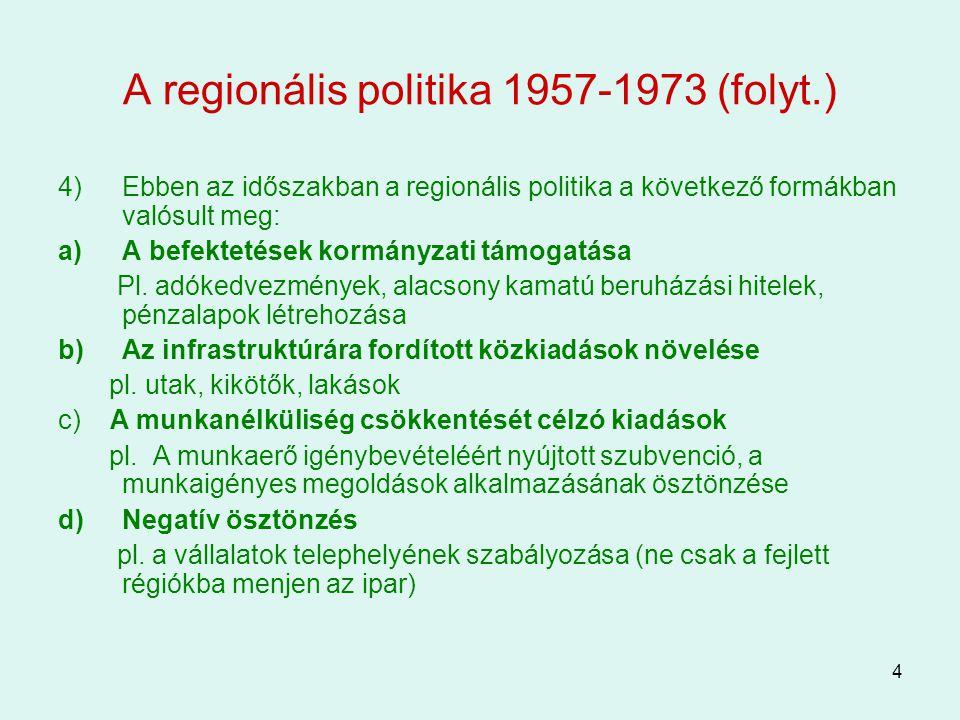A regionális politika 1957-1973 (folyt.)