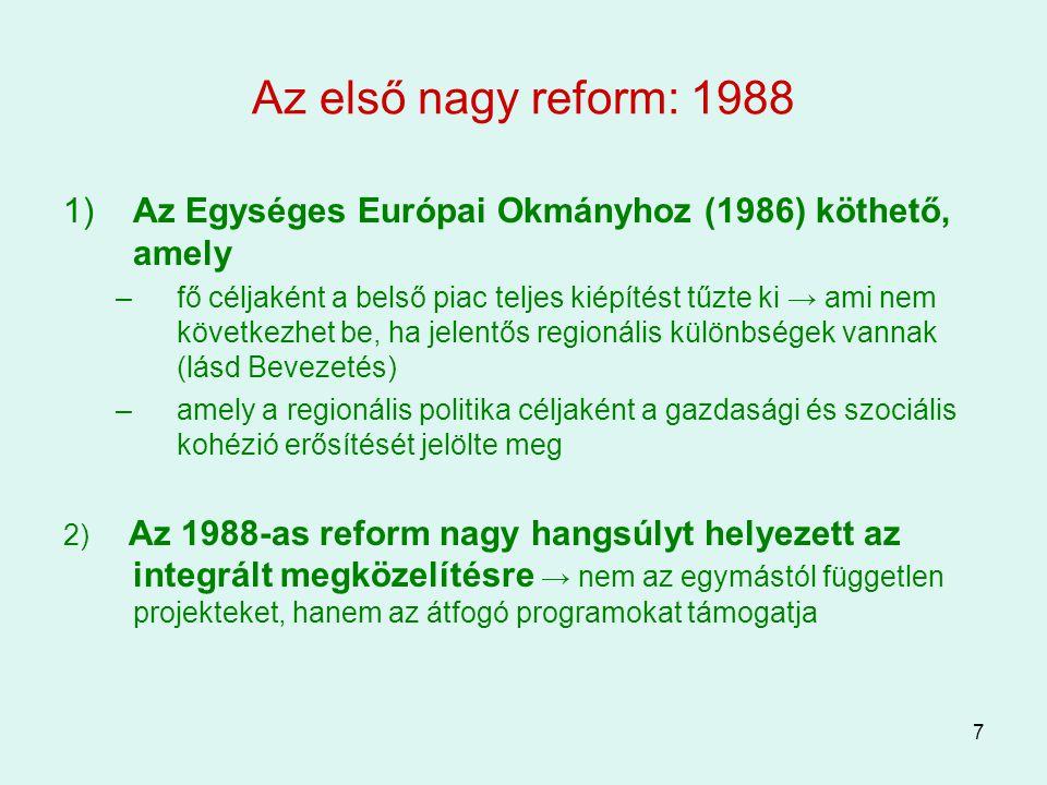Az első nagy reform: 1988 1) Az Egységes Európai Okmányhoz (1986) köthető, amely.