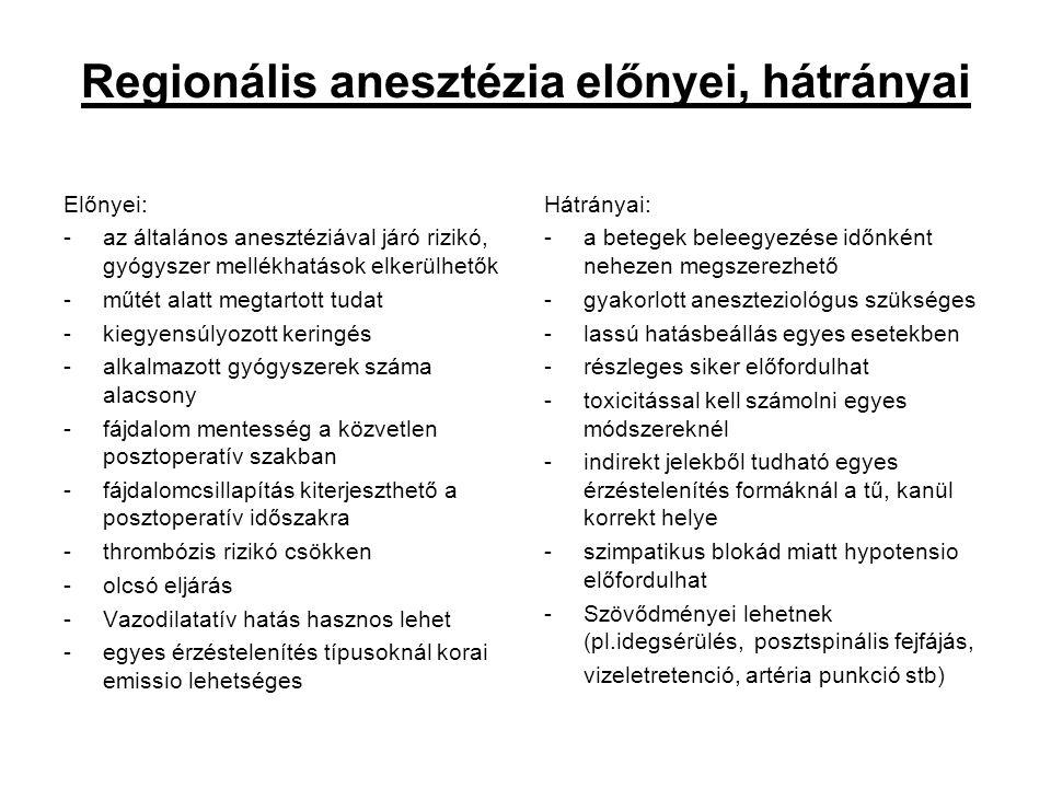 Regionális anesztézia előnyei, hátrányai