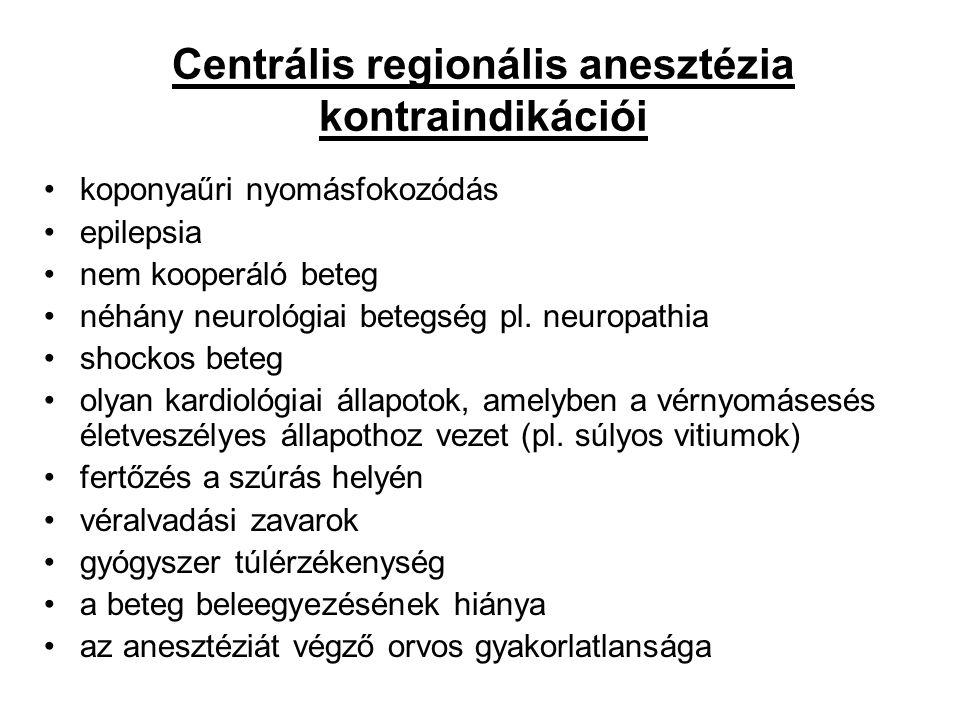 Centrális regionális anesztézia kontraindikációi