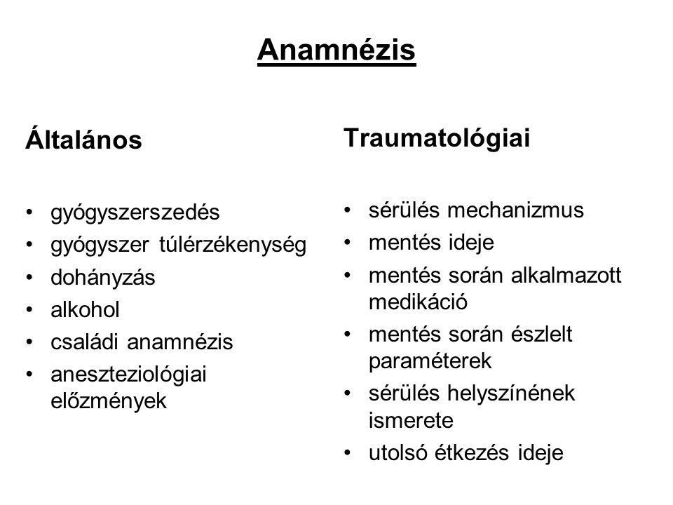 Anamnézis Általános Traumatológiai gyógyszerszedés sérülés mechanizmus