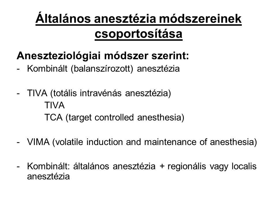 Általános anesztézia módszereinek csoportosítása