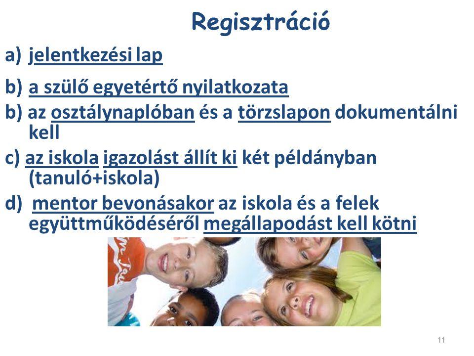 Regisztráció jelentkezési lap a szülő egyetértő nyilatkozata