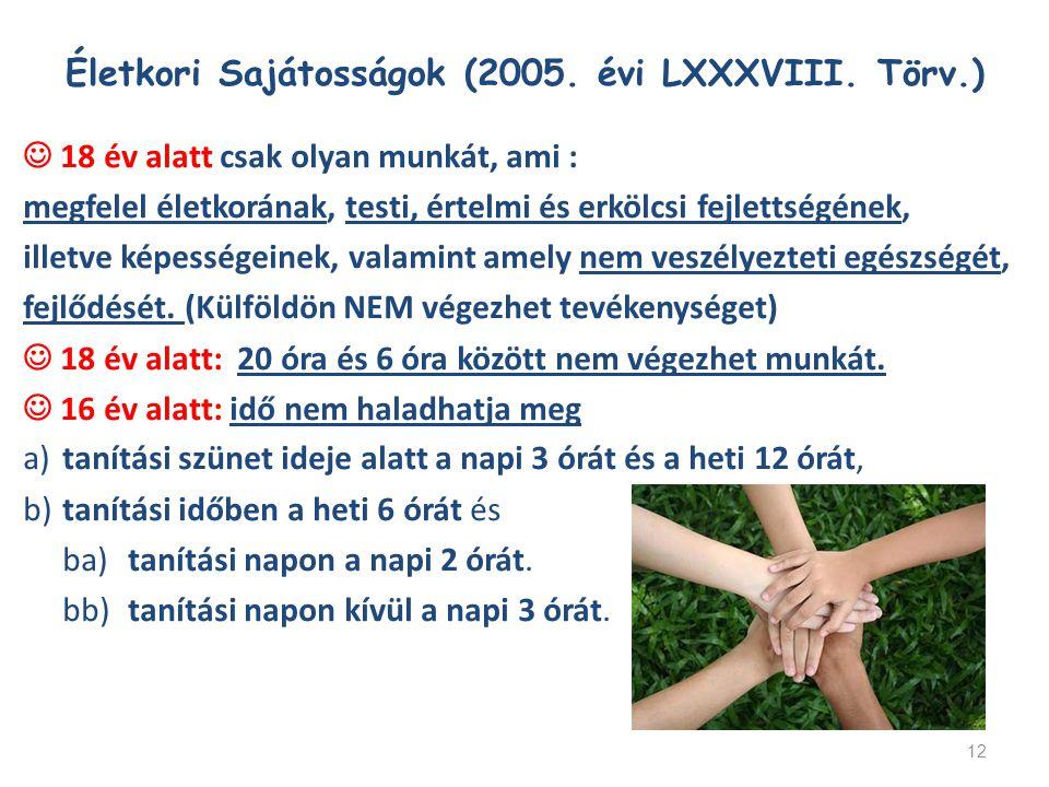 Életkori Sajátosságok (2005. évi LXXXVIII. Törv.)