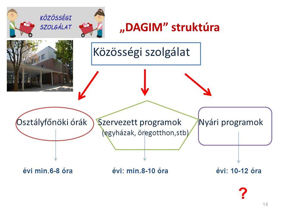 """""""DAGIM struktúra Közösségi szolgálat. Osztályfőnöki órák Szervezett programok Nyári programok."""