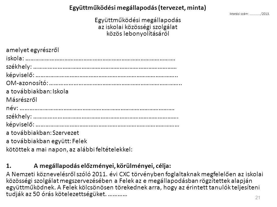 Együttműködési megállapodás (tervezet, minta)
