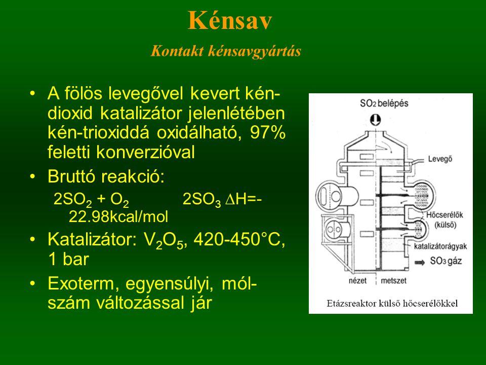Kénsav Kontakt kénsavgyártás. A fölös levegővel kevert kén-dioxid katalizátor jelenlétében kén-trioxiddá oxidálható, 97% feletti konverzióval.