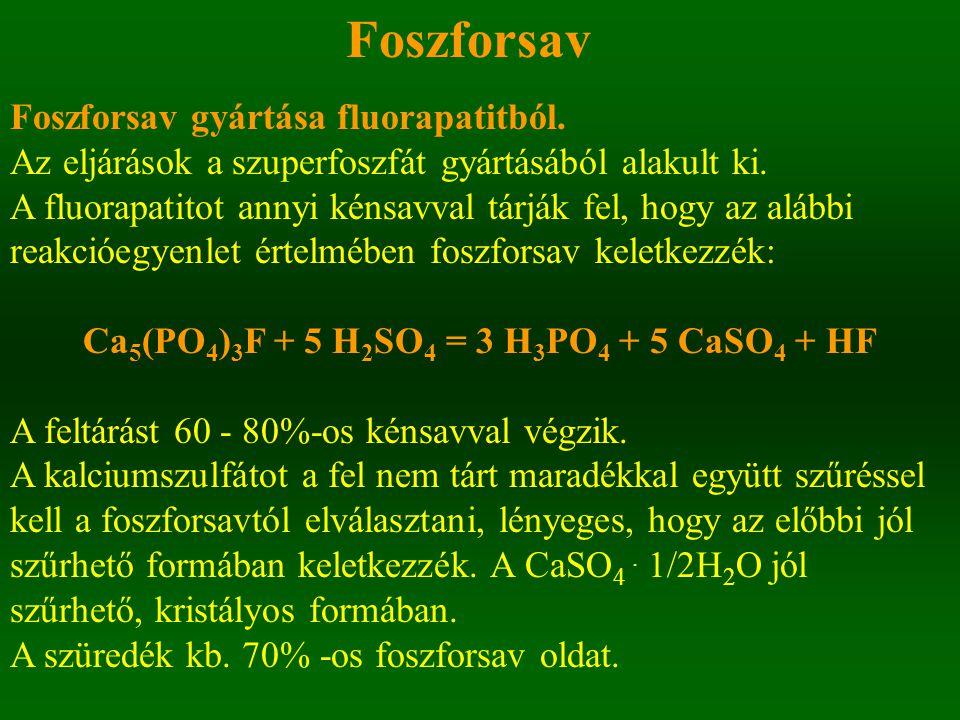 Ca5(PO4)3F + 5 H2SO4 = 3 H3PO4 + 5 CaSO4 + HF