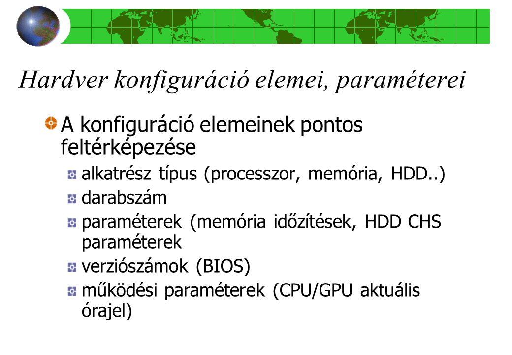 Hardver konfiguráció elemei, paraméterei