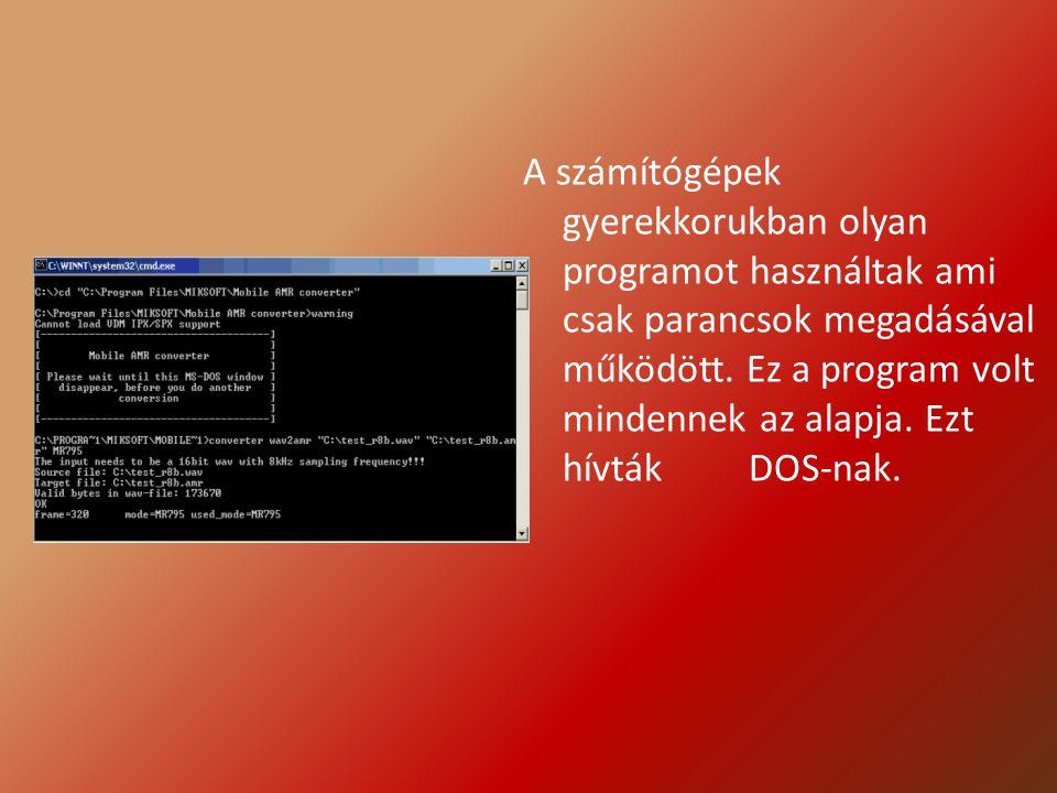 A számítógépek gyerekkorukban olyan programot használtak ami csak parancsok megadásával működött.