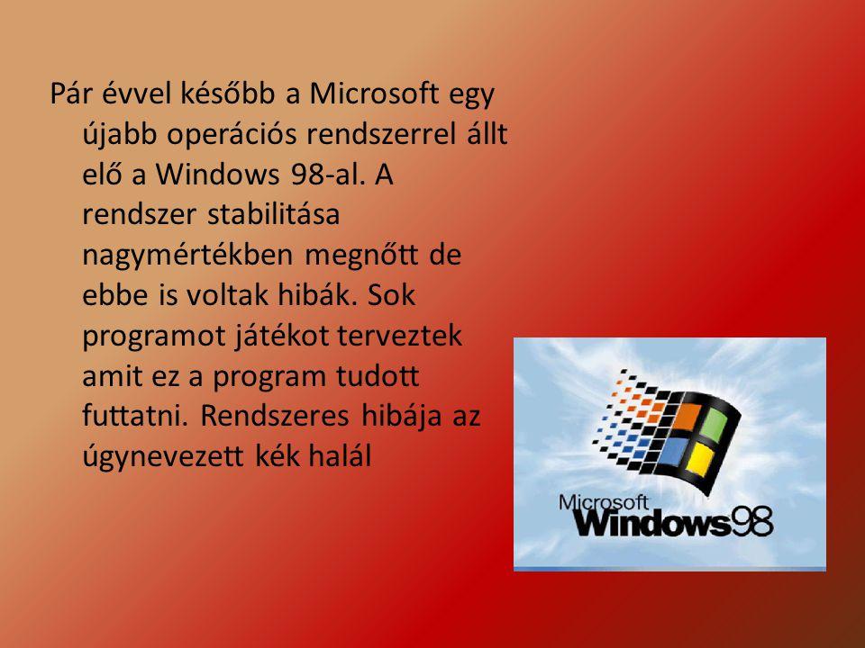 Pár évvel később a Microsoft egy újabb operációs rendszerrel állt elő a Windows 98-al.