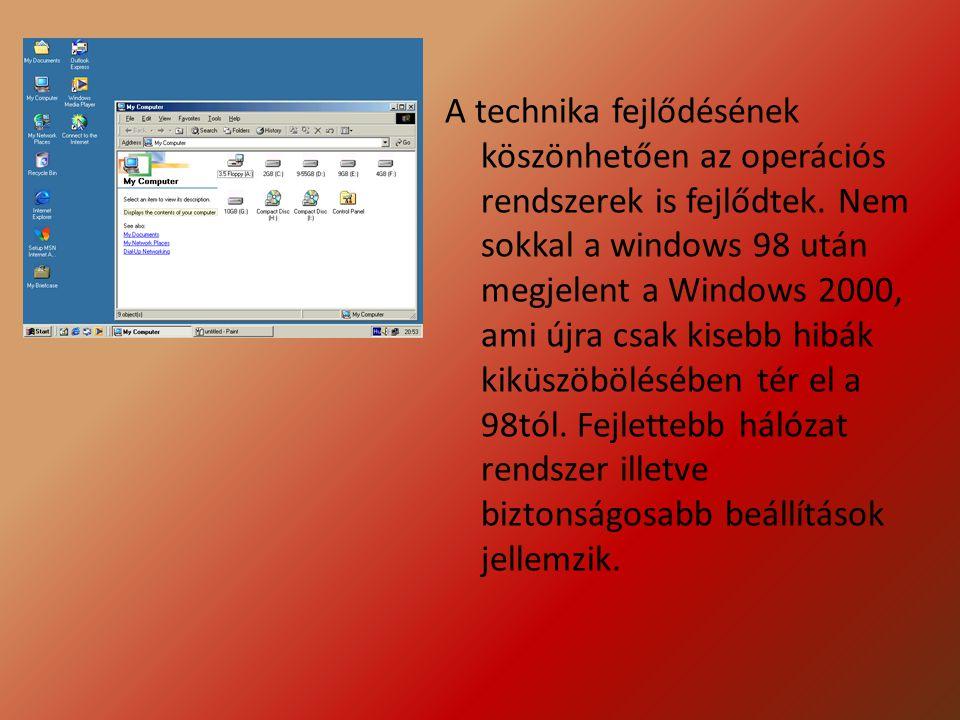 A technika fejlődésének köszönhetően az operációs rendszerek is fejlődtek.
