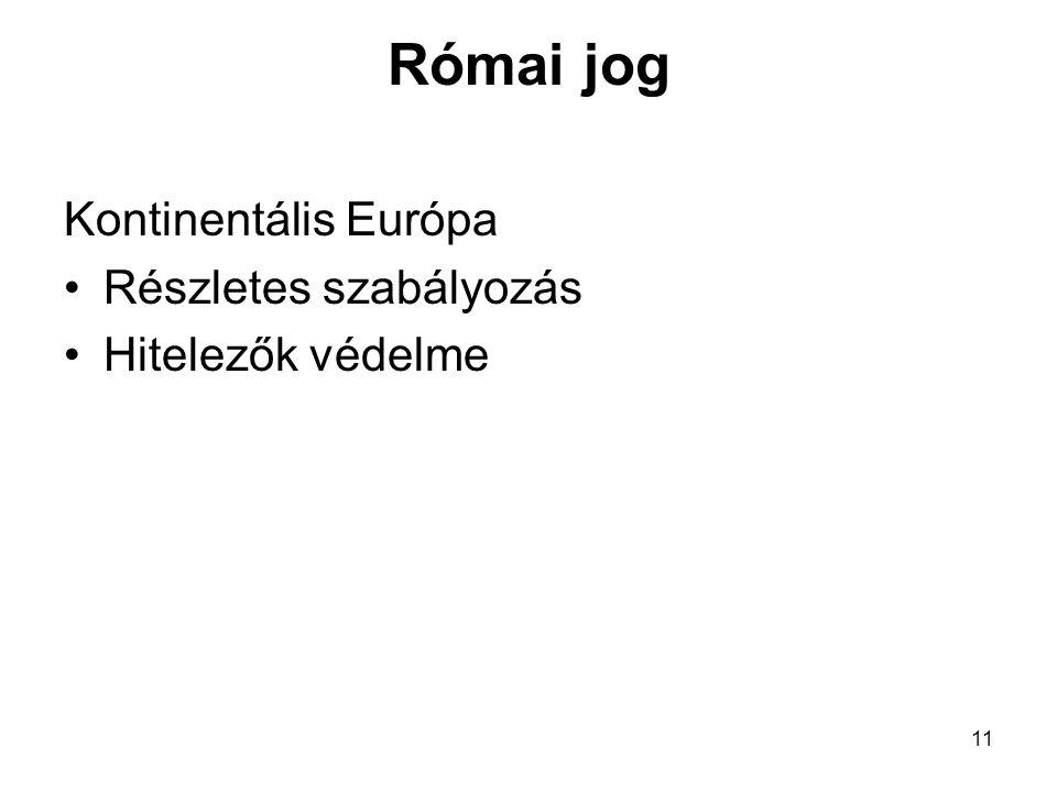 Római jog Kontinentális Európa Részletes szabályozás Hitelezők védelme
