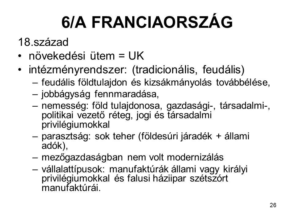 6/A FRANCIAORSZÁG 18.század növekedési ütem = UK