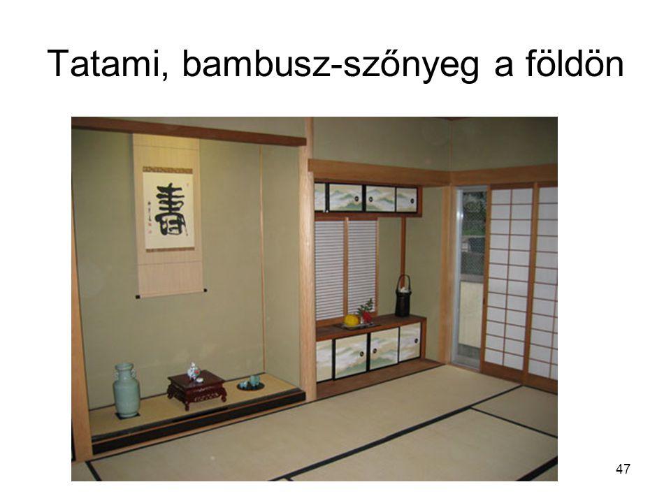 Tatami, bambusz-szőnyeg a földön