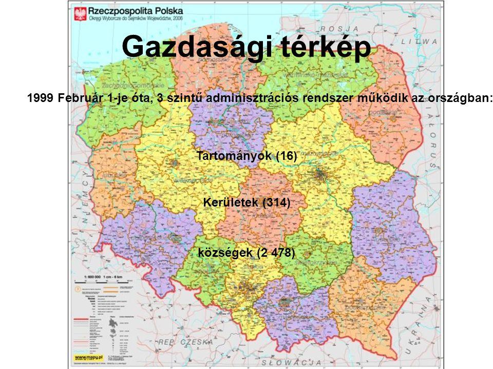 Gazdasági térkép 1999 Február 1-je óta, 3 szintű adminisztrációs rendszer működik az országban: Tartományok (16)
