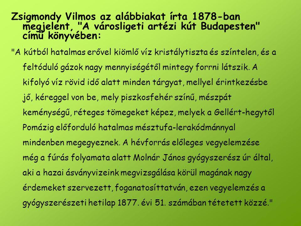 Zsigmondy Vilmos az alábbiakat írta 1878-ban megjelent, A városligeti artézi kút Budapesten című könyvében: