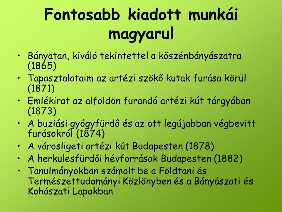 Fontosabb kiadott munkái magyarul