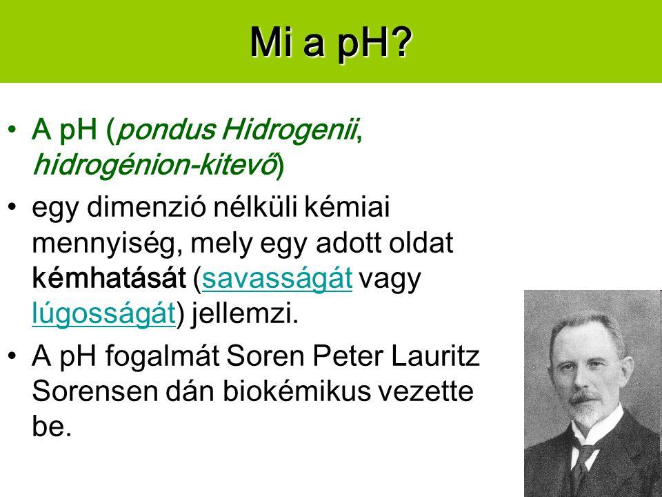 Mi a pH A pH (pondus Hidrogenii, hidrogénion-kitevő)