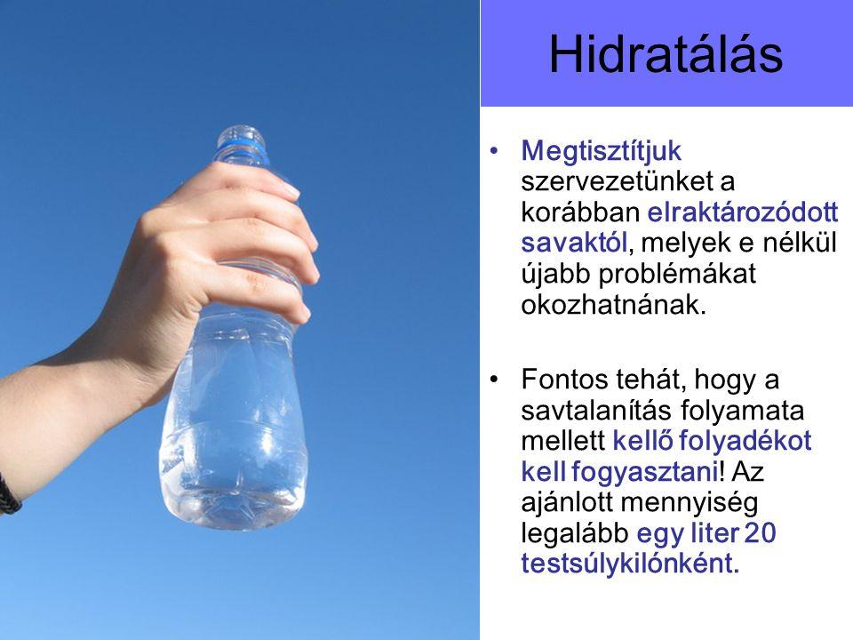 Hidratálás Megtisztítjuk szervezetünket a korábban elraktározódott savaktól, melyek e nélkül újabb problémákat okozhatnának.