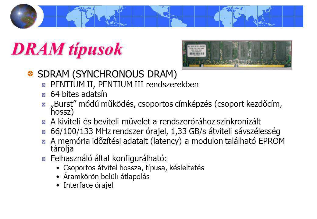 DRAM típusok SDRAM (SYNCHRONOUS DRAM)