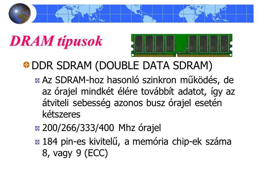 DRAM típusok DDR SDRAM (DOUBLE DATA SDRAM)