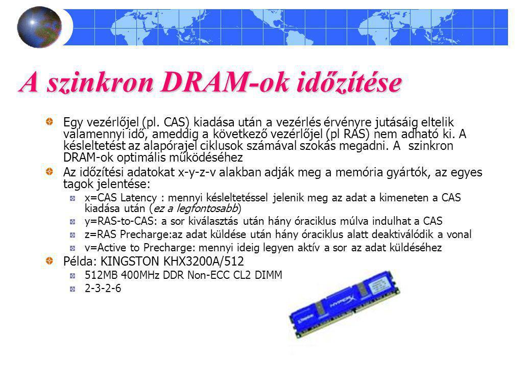 A szinkron DRAM-ok időzítése